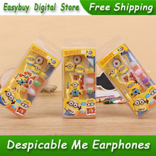 2 Pieces New Stereo Cartoon Earphone Despicable Me Anime The Minion Earphones With Retail Box For MP3 Player & Mobile Phone
