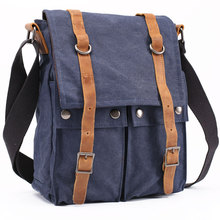 Europe retro men's small messenger bag canvas shoulder bag leisure bag IPAD A4 models with Crazy Horse leather trade