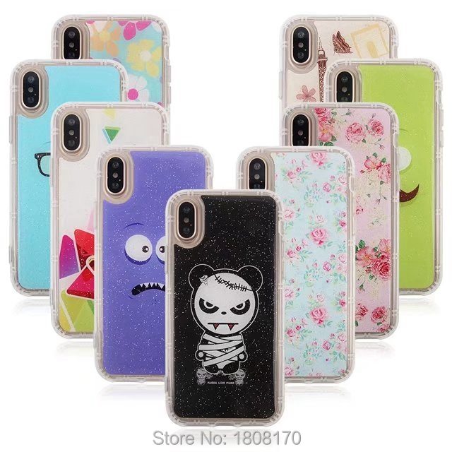 Anti Gravity Sticky Case For iPhone X IphoneX Selfie Hybrid TPU Flower Cartoon Fashion Stick On The Wall Back Phone Cover 100pcs