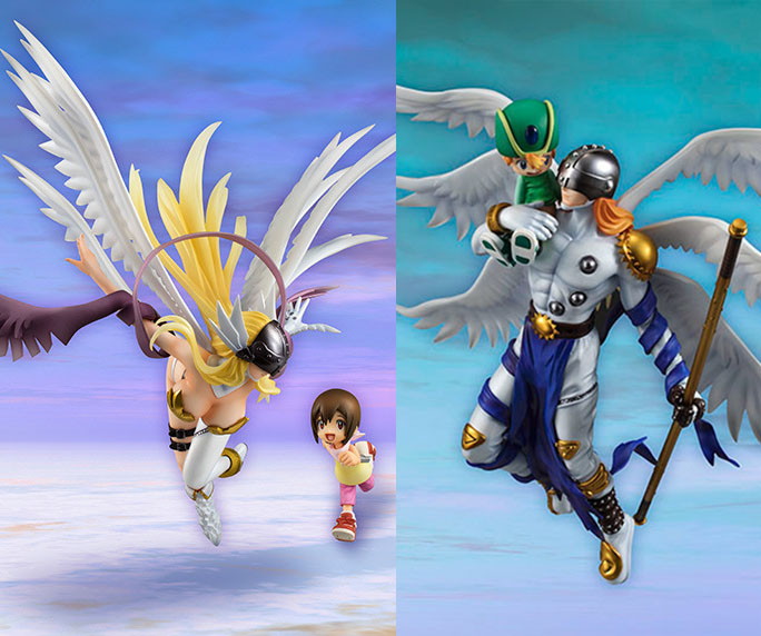 Free Shipping 9 Anime Digital Monster Digimons Angemon Angewomon Boxed 22cm PVC Action Figure Collection Model Doll Toy