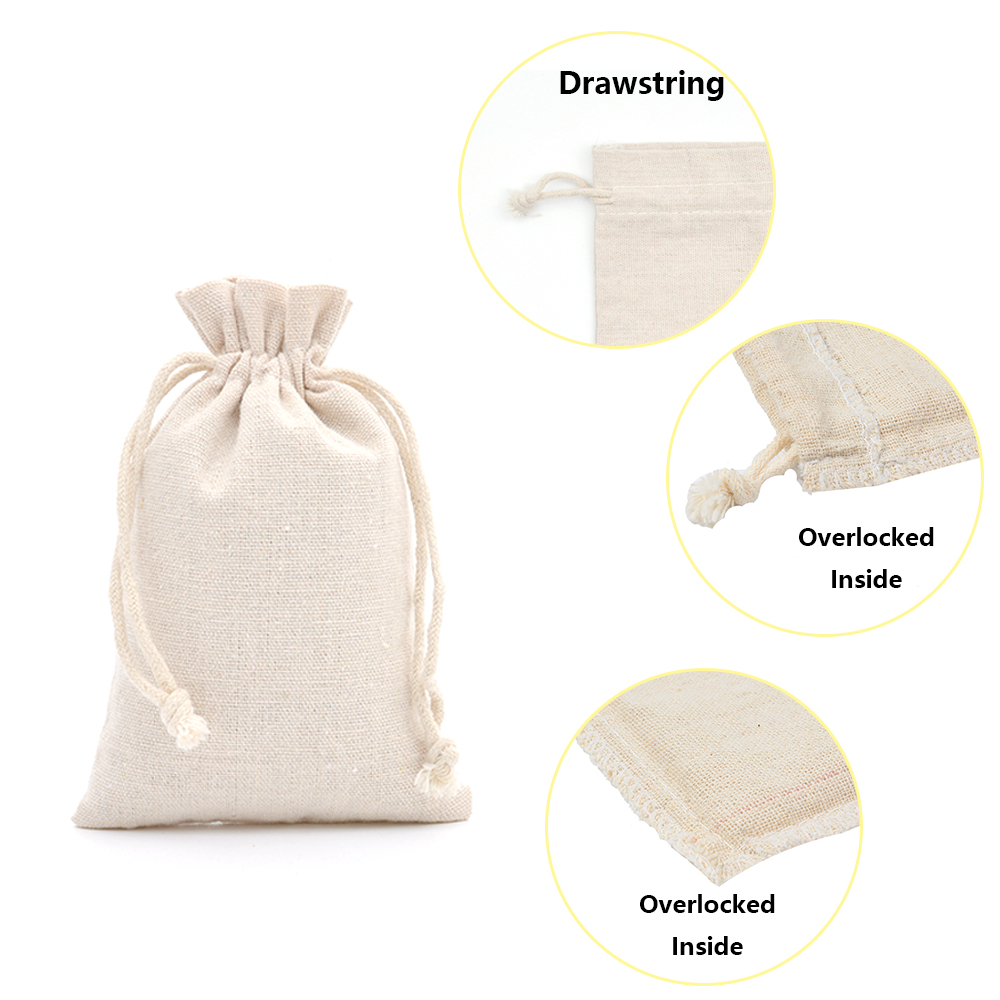 10Pcs Jewelry Pouches Gift Bags Reusable Drawstring Cotton Bag Set Wedding Favor