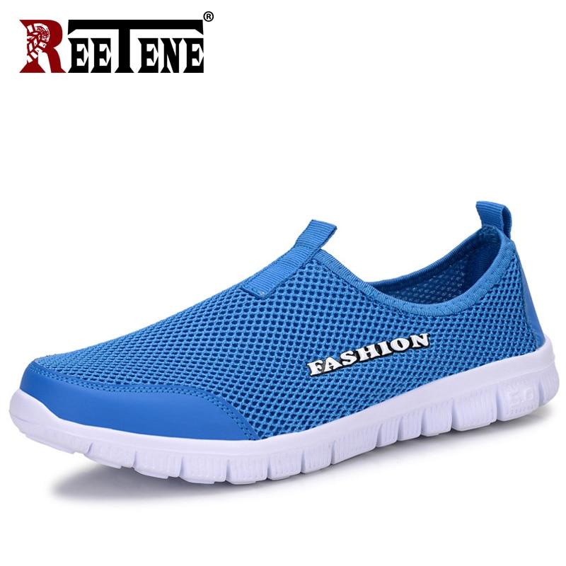 c7855cda4a3 REETENE 2019 модная мужская повседневная обувь без шнуровки летние мужские  туфли дышащие сетчатые туфли мужские кроссовки
