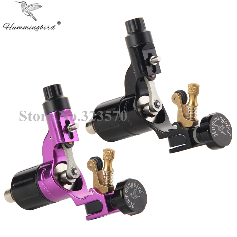 Pro 2 stks Black & Purple Hummingbird V2 Originele Zwitserse Motor Rotary Tattoo Machine Gun kit voering shader voor snoer
