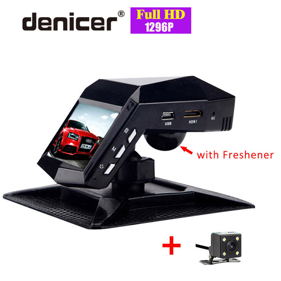 Dvr de voiture vision nocturne désodorisant enregistreur vidéo Réel Full HD 1296 P Dvr Avant Arrière Vue Novatek Double Objectif Dash Cam Deux Caméras