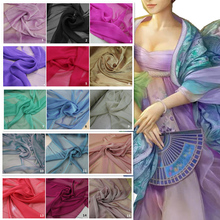 Two Tone Color Cationic Chiffon Fabric for Summer Dress Ancient Dress CosPlay Cloth two tone oblique shoulder split dress