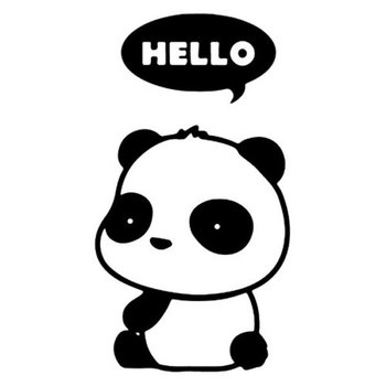 7.3CM*13.2CM Cute Panda Hello Thought Bubble Cartoon Vinyl Car Decals Car Stickers Car Styling Accessories Black Sliver C8-0967 image