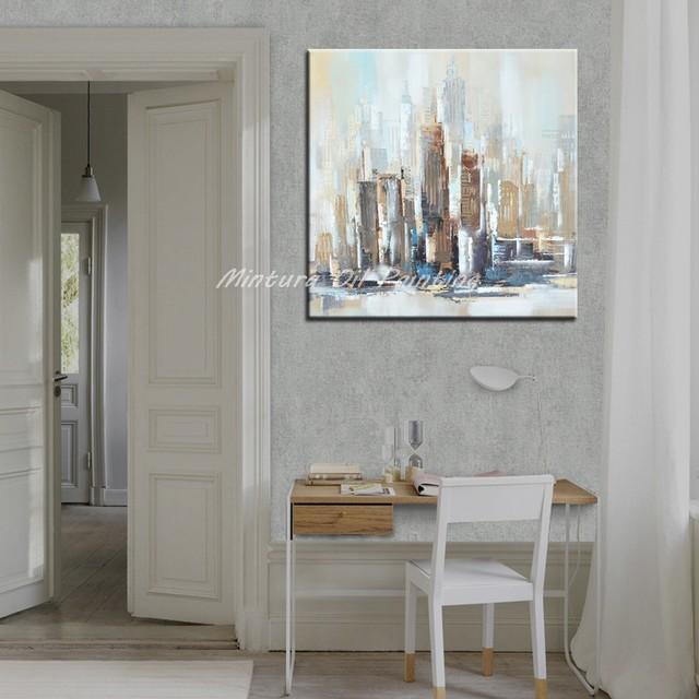 Wunderbar Mintura Hand Gemalt New York Stadt Ölgemälde Auf Leinwand Moderne Abstrakte  Wand Kunst Bilder Für Wohnzimmer Wohnkultur Kunstwerk