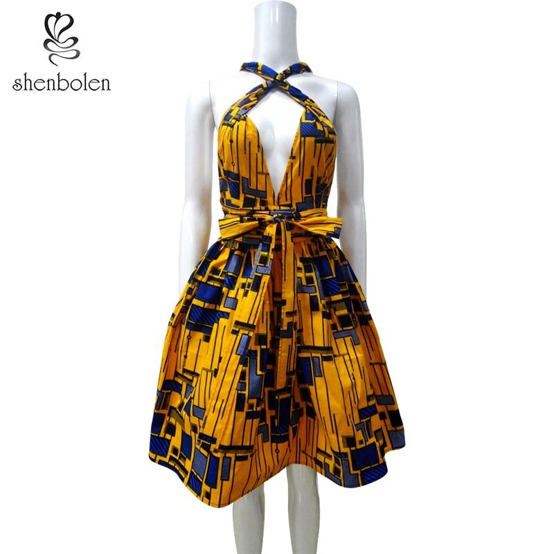 فساتين الأفريقية للنساء القطن الشمع طباعة أنقرة الملابس مثير طريقة ارتداء متعددة اللباس حزب فساتين