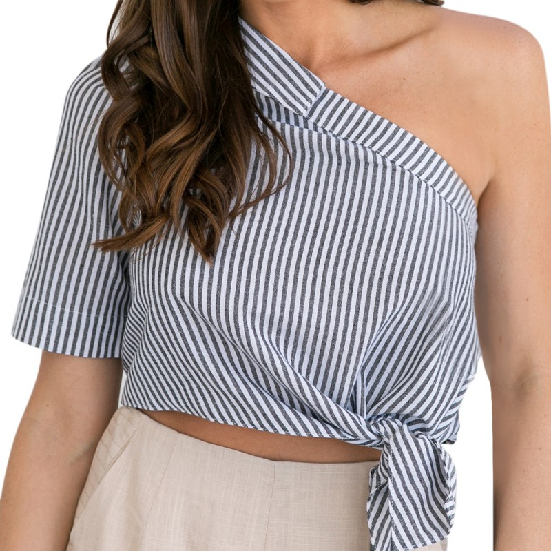 2017 new arrival New Women Sexy One Shoulder Striped Blouses Short Sleeve Shirts Backless Summer Casual Tops