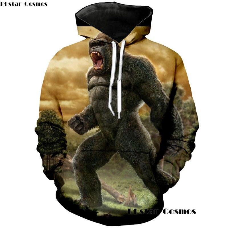 PLstar Cosmos New Fashion 3d Hoodies Women/Men Kingkong Print Hoodie Mens King Kong Sweatshirts Long Sleeve Hoody Streetwear