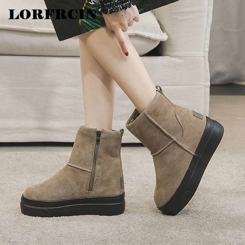 Genuine Leather Snow Boots Women Size 31~40 Platform Ankle Boots Winter Height Increasing Thick Soled Plush Warm Shoes Woman New цена