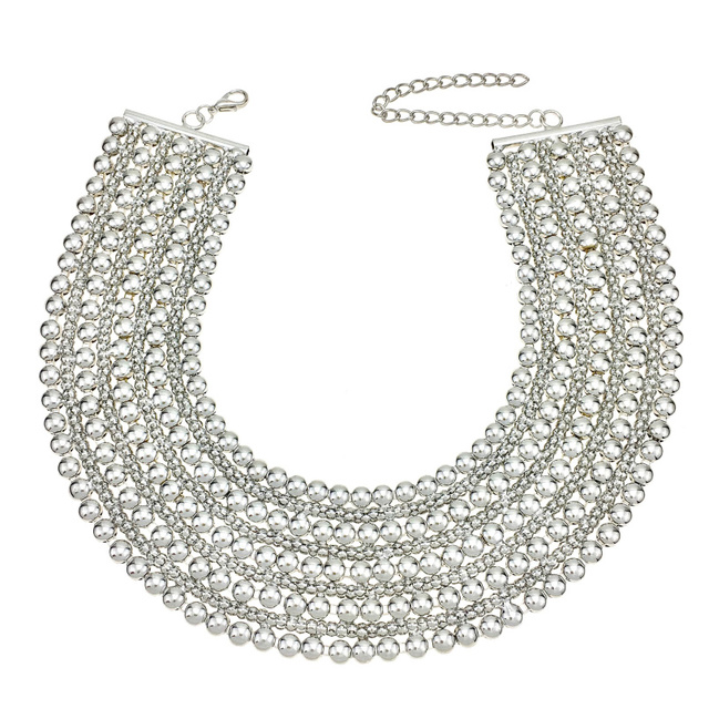 Metal Choker Beads Chunky Maxi Necklace For Women