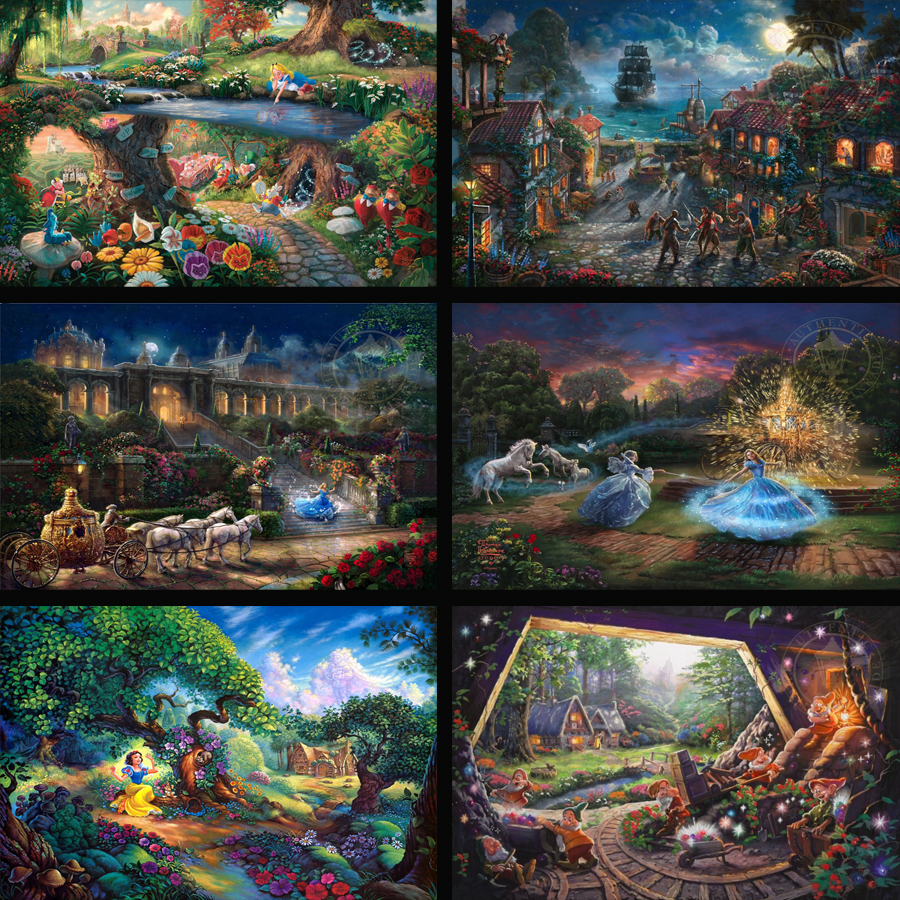 Thomas Kinkade Princess Elves Fairy Hd Canvas Print Painting Artists Large Wall