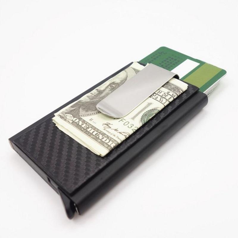 Mini Slim Wallet Automatic Slide Card Case Carbon Fiber PU Leather RFID Wallets Aluminum ID Cash Credit Card Holder Clip slide wallet