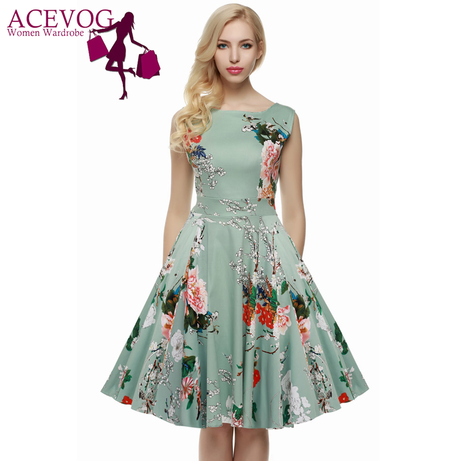 ACEVOG Femmes Robe Rétro Vintage 1950 s 60 s Rockabilly Floral Swing Robes D'été Élégant Arc-noeud Tunique Robes Robe Oversize