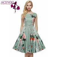ACEVOG Vestito Delle Donne Retro Vintage 1950 s 60 s Rockabilly Floreale Swing Vestiti Da Estate Elegante Bow-knot Tunica Abiti Robe Oversize