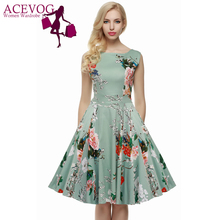 ACEVOG Women Dress Retro Vintage 1950s 60s Rockabilly Floral Swing Summer Dresses Elegant Bow knot Tunic