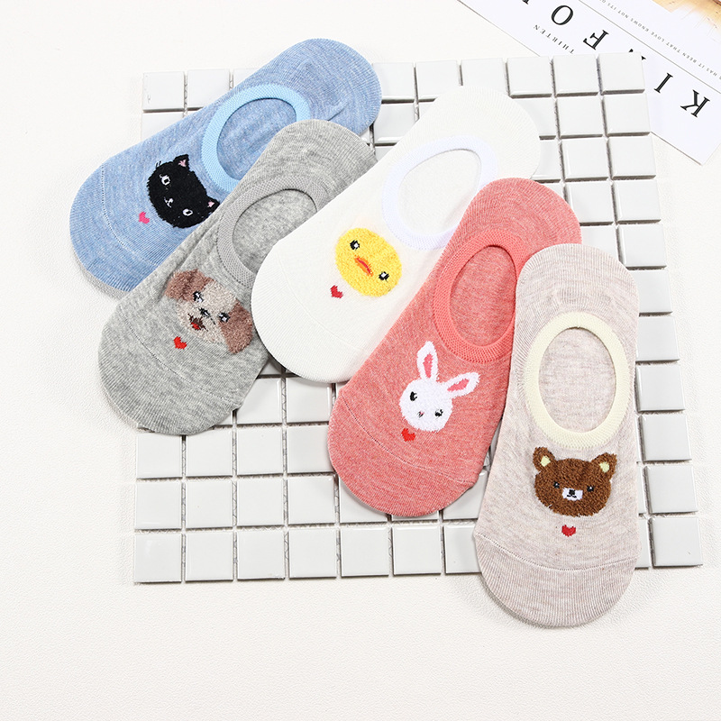 2019 Cute Animal Cotton Socks Female Kawaii Cat Dog Rabbit Chicken Summer Socks Slippers Female Casual Soft Funny Socks Socks