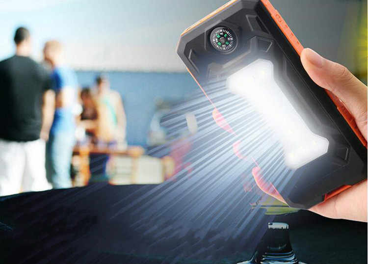Солнечный внешний аккумулятор, двойной USB внешний аккумулятор, 20000 мА/ч, водонепроницаемый внешний аккумулятор, внешняя портативная солнечная панель, светодиодный компас