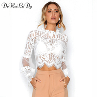 DeRuiLaDy Sexy Hollow Out White Lace Blouse Shirt Women Elegant Flare Sleeve Summer Blouses Female Casual