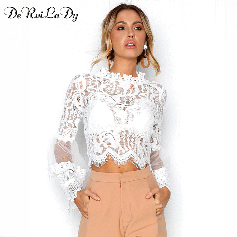 DeRuiLaDy Sexy Hollow Out White Lace Blouse Shirt Women Elegant Flare Sleeve Summer Blouses Female Casual Long Sleeve Tops Blusa