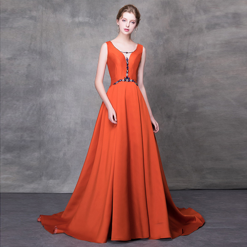 2018 Train Balayage Gratuating Z Robe Longue Pour Robes Élégant Up Soirées De Diamants Femmes cou Orange Date Proms Parti V Gala 7 Cérémonie wtEq8OzI