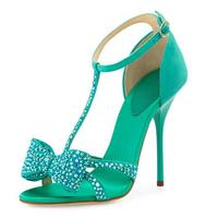 Elegant Ligh Green Suede Leather Crystal Bowtie Sandals T bar Wrapped Heel Sandals Turquoise Party Wedding Dress shoes woman