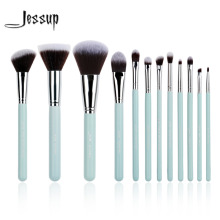 Jessup Brand 12pcs Blue/Silver Professional Makeup Brush set Beauty Make Up Cosmetics kit Eyeshadow Foundation blusher Tools