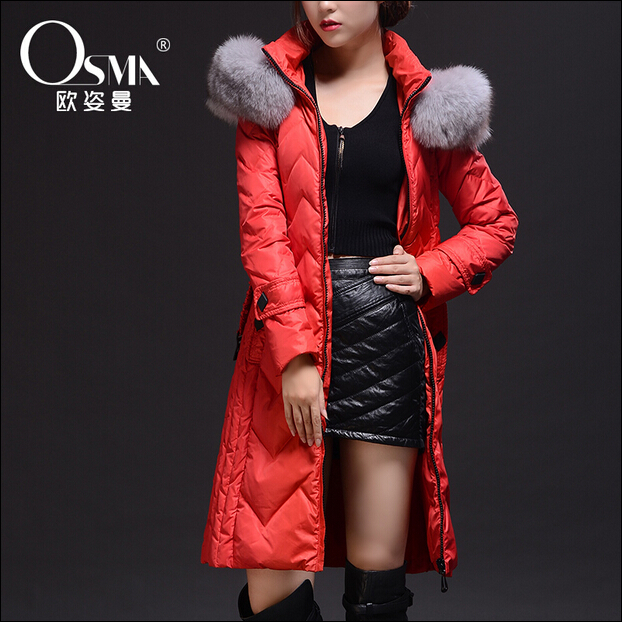 2016 new hot winter Warm woman Down jacket Coat Parkas Outerwear Hooded fox Fur collar Luxury Mid long plus size 2XXL Brands