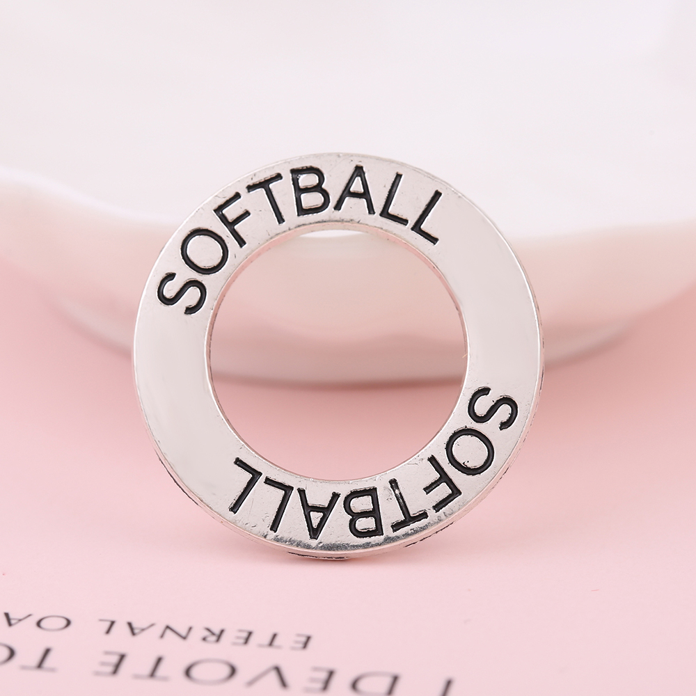 my shape SOFTBALL sport charms words engraved metal alloy circle ...