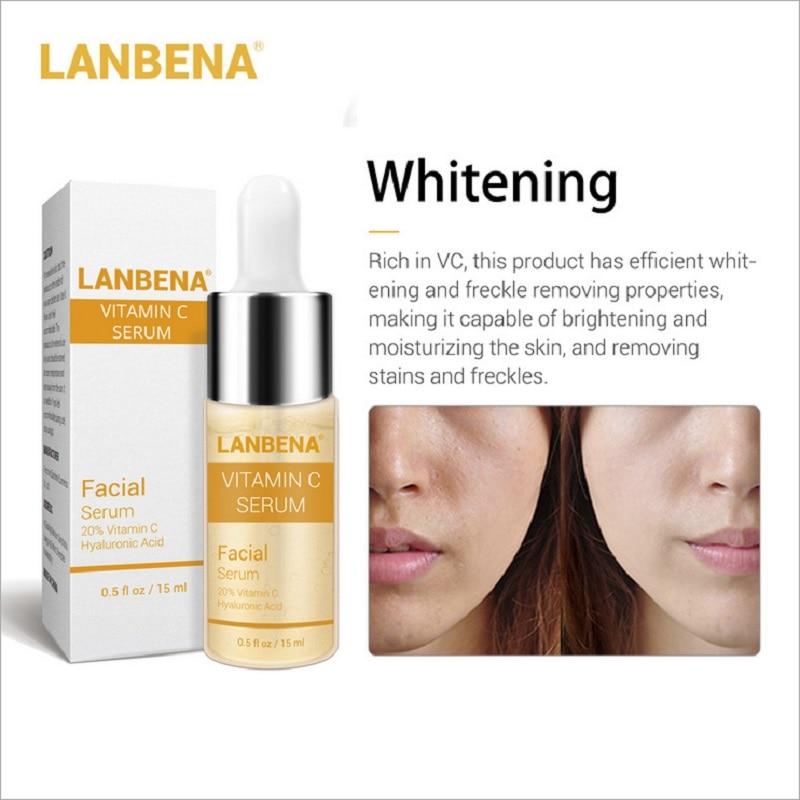 Image 4 - 30pcs LANBENA Six Peptides 24K Gold Vitamin C Serum Hyaluronic Acid Serum Anti Aging Moisturize Skin Care Whitening Brighten-in Serum from Beauty & Health