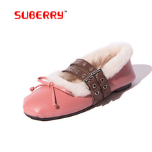 2016 China Brand New Ballet Flats Hot Sale New Women Genuine Leather Shoes Buckle Bow Comfortable Flat Driving Casual Footwear