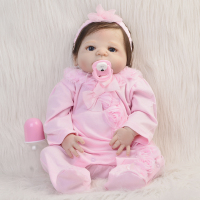 Handmade Fiber Hair Girl Doll Full Silicone Vinyl Reborn Dolls 23 Babies Wear Pink Rompers Can