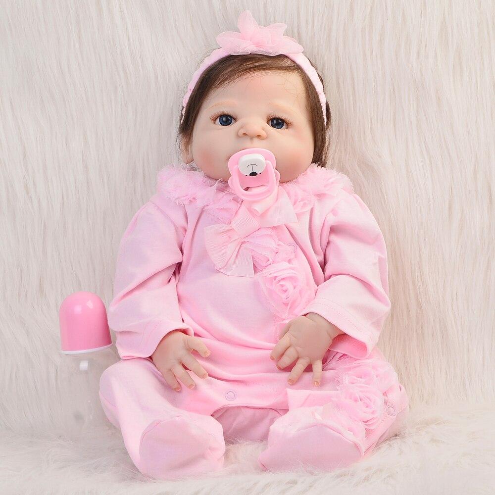 Handmade Fiber Hair Girl Doll Full Silicone Vinyl Reborn Dolls 23 Babies Wear Pink Rompers Can Bathe Designed For Child Toys