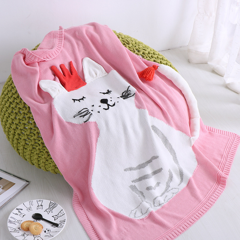 90X110CM New baby child Knit Blanket thread blanket cotton soft cartoon fox angel cat towel sofa bed cover summer use FG822