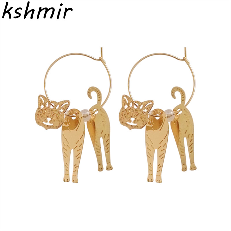 New cute cat animals geometric metal fashion beautiful girl cat ear ring earrings earrin ...