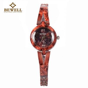 BEWELL W076A 2018 New Arrivals Unique Stone Bracelets Watch Women Round Case Watch Made of Gems & Stones Quartz Watch for Girls дамски часовници розово злато