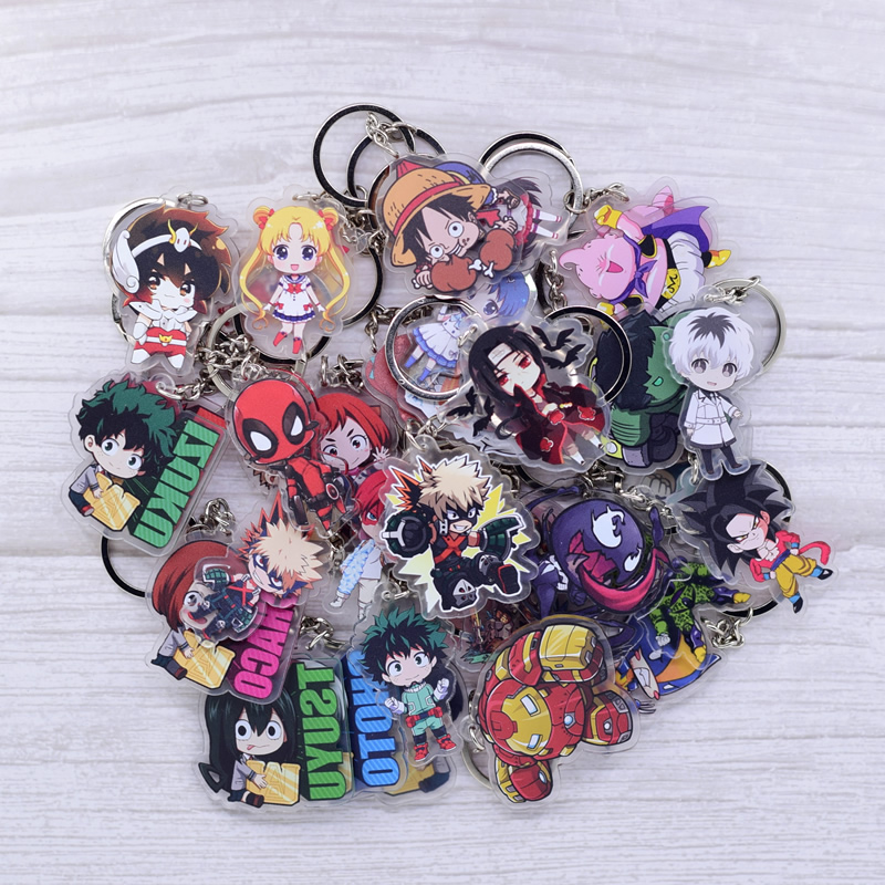 Cute Cartoon Keychain Naruto/My Hero Academia Key Chain Ring Anime Dragonball Keyring Hot Sales