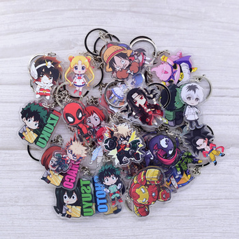 Cute Cartoon Keychain Naruto/My Hero Academia Key Chain Ring Anime Dragonball Keyring Hot Sales image