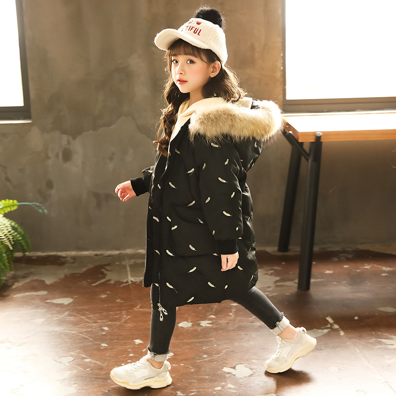 Girls Winter Warm Parkas Hooded Fur Collar Jacket Children Padded Cotton Clothes Girl Down & Parkas Kid Feather Patterns Outwear 12m 6y baby girl clothes zipper winter jacket girl coats cotton padded warm kid parka thick girls jackets children down outwear