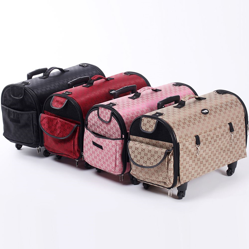 2016 New Luxury Large Pet Carrier With 4 Wheels Dog Shoulder Bags