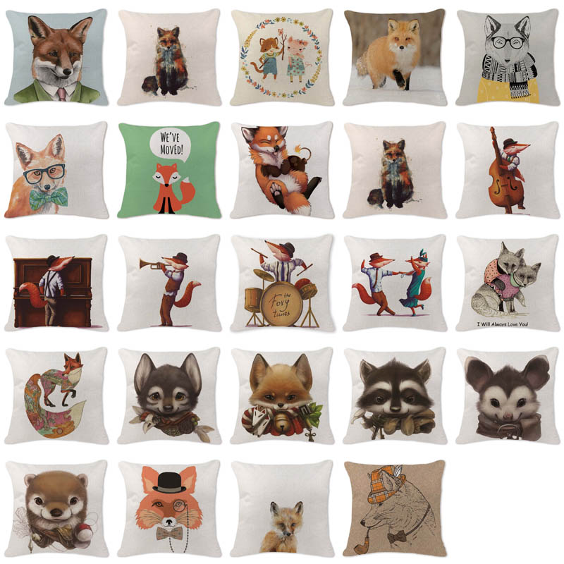 cartoon cushion cover fox elegant cute cutton linen throw pillow couch car sofa bedroom home decor