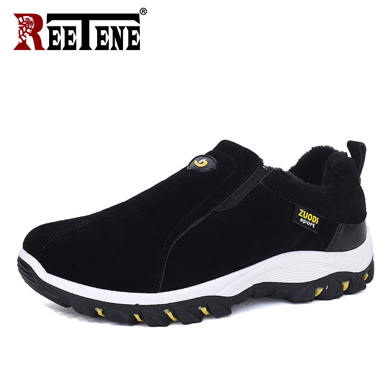 REETENE Fashion Slip On Winter Men Loafers Autumn Casual Shoes Men Flats Driving Shoes High Quality Warm Fur Men Shoes Moccasins