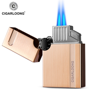 Cigar Lighter wholesale Windproof Straight Portable Cigar Lighter with Cigar Punch Gift Box Packed CB-0902