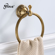 Antique Carving Space Aluminum Bronze Towel Ring Brushed Holder Rack Wall Mounted Bathroom Accessories D10