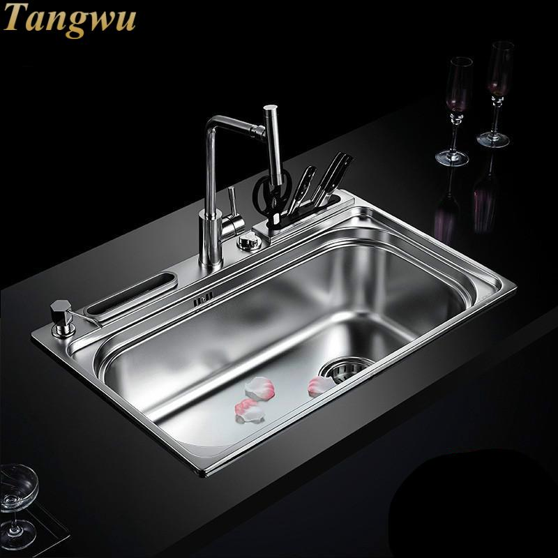 Kitchen Sinks Free shipping kitchen multifunctional thickening of 304 stainless steel sink single slot package Kitchen Sinks 80