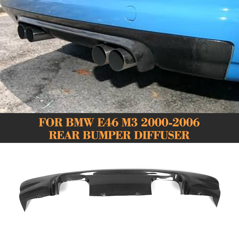 carbon Fiber Auto Car Rear Bumper Lip Spoiler Diffuser For BMW E46 M3 Only 2000 2006 Four Style
