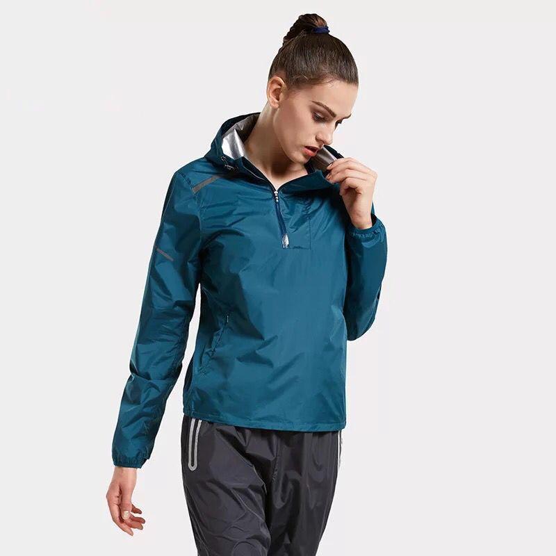 Hooded Women Running Jackets Hot Sweat Training Jogging Tops Half Zipper Fitness Sports Clothing Gym Sportswear Reflective
