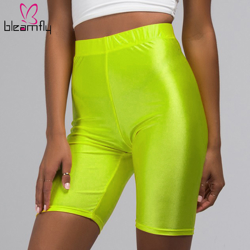 Summer High Waist   Shorts   Women Casual Solid Biker   Shorts   Streetwear Fitness Gloss Black Cycling Sexy Bodycon   Shorts   Femme