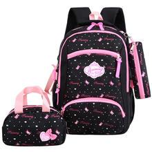 Комплект из 3 предметов Женский школьный рюкзак с принтом холщовые